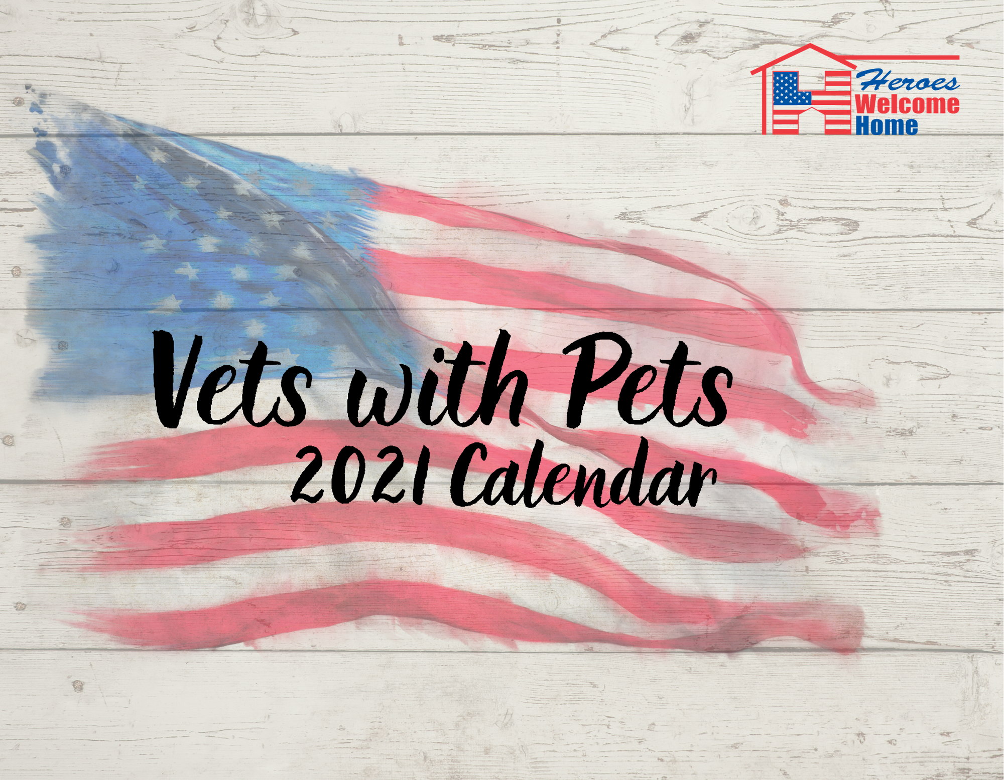 calendar front cover white board background and american flag text vets with pets 2021 calendar